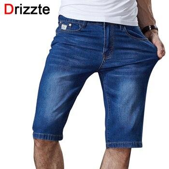 Drizzte mens verão estiramento leve azul denim jeans curto para homens shorts jeans calças Plus Size 32 33 34 35 36 38 40 42 44 46