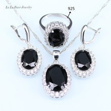 L&B Drop Earrings Necklace Ring with black created Garnet Jewelry Sets for Women white zircon silver Color jewelry