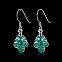 HERMOSA Jewelry new Xmas gift Christmas tree shape silver enamel process 2 color selection Earrings LKNSPCE835(China)