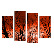 4PCS The sky caught fire HD Wall painting print on canvas for home decor ideas paints on wall pictures art No framed(China)
