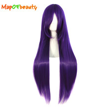 MapofBeauty long Straight Cosplay Wigs Dark Purple Color 80cm Synthetic hair High Temperature Fiber Heat Resistant(China)