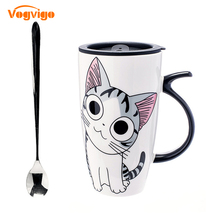 VOGVIGO 2017 Creative Cute Sweet Private Cat Large Capacity Mug Ceramic Cup With Coffee Cup With Lid Couple Cup