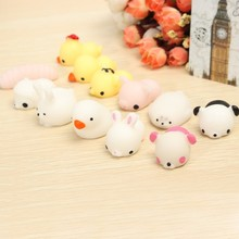 6pcs/set Mochi Chicken Duck Tiger Bear Seal Squeeze Toy Kawaii Collection Stress Reliever Gift Decor For Children Girls