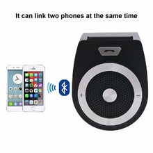 Handsfree Bluetooth Car Kit For iPhone Speakerphone Noise Cancelling Multipoint Wireless Clip On Sun Visor Portable Car Audio(China)
