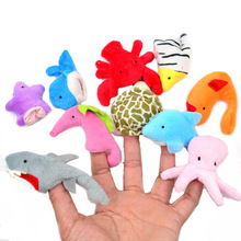BOHS Cloth  Soft Stuffed Plush Cute Doll  Velvet Marine Animal Style Finger Puppets  Wedding Gift Cartoon Baby Story Telling Toy