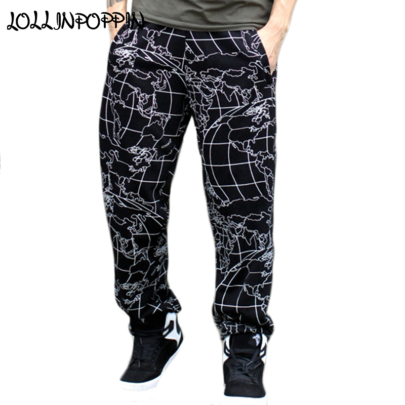 Mens Hip Hop Street Dance Pants Map Allover Printing Casual Sweatpants Elastic Waist Plus Size Mens Skateboarder Jogger Pants