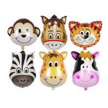 Lion & monkey & zebra & giraffe & cow & Horse Animals Head Helium Foil Balloons Animal Air Balloons theme birthday party suppies