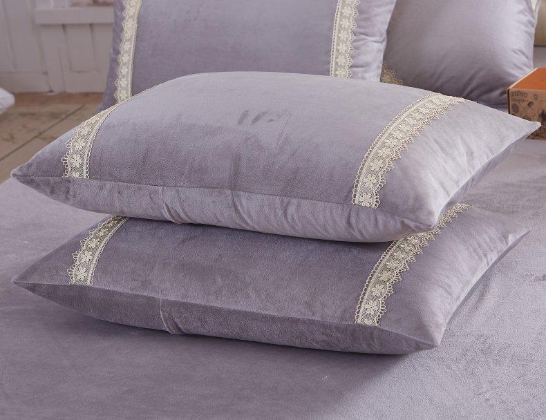 3Pcs Fleece Bed Skirt Set W/ Pillowcases, Mattress Protective Cover 26