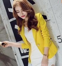 2017 summer full Sleeve Slim Women Blazers And Jackets Small Suit Korean Version Slim (Green Yellow Black) Blazer Femme