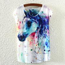 Graffiti Horse pattern t-shirt women summer clothing 2015 new design top tees girls short sleeve tshirt female blusas discount
