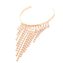 Crystal Rhinestone Bangles Cuff Bracelets Bridal Tassel Armlet Upper Arm Open Gold Silver Color Charm Women Jewelry Gifts(China)