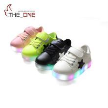 MUABABY 2017 Baby Girls LED Shoes Kids Fashion Sport Colorful Summer Light Anti Slippery Board Shoe Children Boy Glowing Sneaker