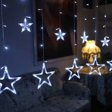 Holiday Lighting 3m AC 220V LED Fairy Star Curtain String Lights Christmas Tree Decoration Wedding Garden Outdoor Decorative(China)