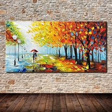 Hand Painted Decorative Poster Wall Art Canvas Oil Painting Palette Knife Tree Landscape Paintings Wall Pictures For Living Room(China)