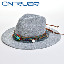 CN-RUBR New Fashion Bohemian Style High Quality Gemstone Accessories Summer Sun Hat For Women Hat Large Visors Beach Sun Caps