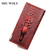 3D Women Wallets Alligators Genuine Leather Money Female Wallet Brand Designers New Long Bag Ladies Clutch Coin Purses & Holders