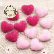 17mm 50pcs Pink/Hot Pink Hairy Velvet Fabric Covered Heart Button Flatback DIY Decoration Buttons Scrapbooking,BK1030(China)