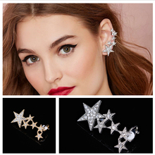 Shiny Crystal Gold Silver Big Small Star Ear Cuff Clip Earings For Women High Quality Fashion Jewelry 2A1016