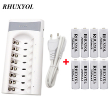 RHUXYOL 8 Slots 1.2V AA / AAA NiCd NiMh Battery Charger + 8pcs RHUXYOL 2000mAh 1.2V AA Rechargeable cell Batteries accumulator