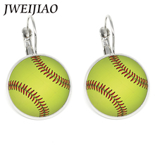 JWEIJIAO Fashion Sports Woman Baseballs Balls Earrings Multicolor Baseball Art Picture Glass Cabochon Clip On Earrings Sp645(China)