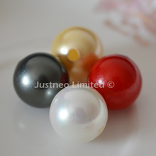 Shell Pearl Beads Round 16mm White Yellow Red Black Half Drilled 3mm Big Hole, Mother of Pearl MOP Oyster Loose beads Diy
