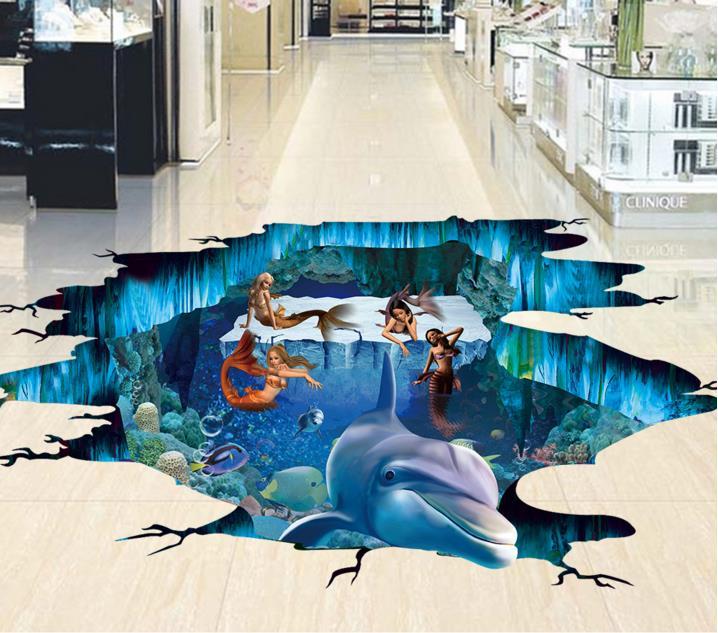 Customized 3d floor murals sea world mermaid wallpaper floor tiles PVC wallpaper waterproof wallpaper for 3d flooring<br><br>Aliexpress