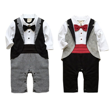 Baby Rompers Cotton Baby Boy Clothes Long Sleeve Bow Tie Baby Boy Tuxedo Roupas Beb Newborn Baby Jumpsuits Toddler Boys Costume