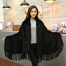 New Genuine Knitted Mink Fur Scarf Women Natural Mink Fur Shawl With Tassel Fashion Lady Winter black Brown Mink Fur Poncho