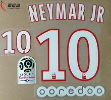 2017 2018 PSG HOME NEYMAR JR #10 SET +  Ligue 1 PATCH + OOREDOO NEYMAR JR #10 nameset