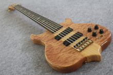 2017 2016 6 strings bass guitar BEST workmanship,Through Maple neck and body Golden hardware Flocculent pattern Free shipping