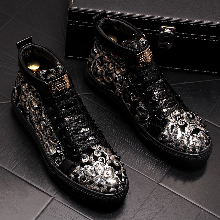 Stephoes 2019 Men Fashion Casual Ankle Boots Spring Autumn Rivets Luxury Brand High Top Sneakers Male High Top Punk Style Shoes 56 Online shopping Bangladesh