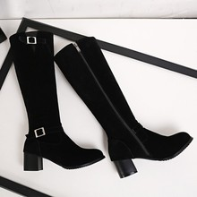 Buy Winter Boots Real 2017 Big Size 34-43 Women Knee High Boots Sexy Chunky Heels Round Toe Spring Autumn Shoes Less Platform F16 for $15.98 in AliExpress store