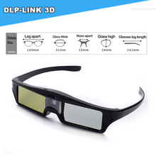 Hot selling cheap 3D glasses 144HZ dlp 3d active shutter glasses for DLP LINK projector black USB rechargeable(China)