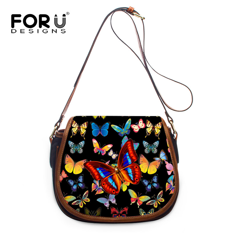 FORUDESIGNS Butterfly Print Women Messenger Bags PU Leather Ladies Mini Crossbody Bag Woman Female Brands Shoulder Bag Handbags<br>