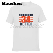 Men Nobody Did It Better Walter Payton #34 T-shirt Tees Short Sleeve T SHIRT Men's 100% Cotton W1017016(China)