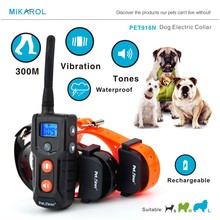 300m remote control petainer collar electric dog training waterproof bark collar anti barking(China)