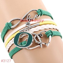 NCAA Infinity Love Oregon Ducks College Football Team Bracelet 2016 New Leather Bracelet Fans Jewelry 6Pcs/Lot ! Free Shipping!(China)