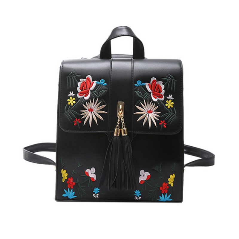 Fashion Ladies Floral  PU Embroidery Backpack Shoulder Bag School Bags For Teenagers Casual Travel Backpack Women Mochila  <br>