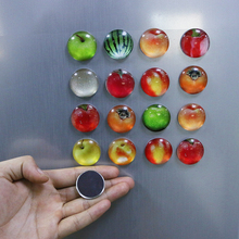 Mixed 8pcs/lot Colorful Vinyl Glass Cabochon Fridge Magnetic Stickers Fruit Patterns Dome Notes Message Holder Magnet Sticker Ho(China)