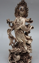 free shipping 17Chinese Silver Guanyin Kwan-yin Guan Yin Hold Vase On Lotus Dragon Sculpture(China)
