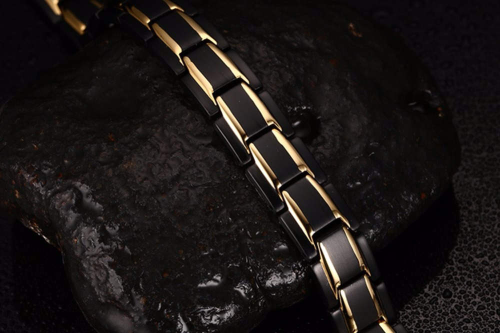 Exquisite Mens Magnetic Bracelets Stainless Steel Men Magnetic Therapy Negative Ion Bracelet Gold-color Black Gents Fashion Jewelry pulseira masculina 13