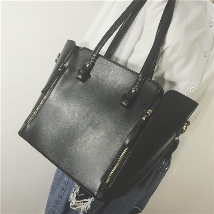 New Fashion Women Handbags Korea Large Capacity Simple Single Shoulder Bag Ladies Crossbody Bags Vintage PU Leather Satchel<br>