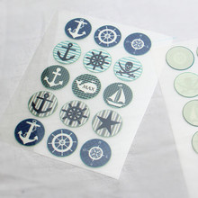 15Pcs Sea Anchor Badge Offset Press Iron-on Patches for Clothing Offset PET Transfer DIY Scrapbooking Materails Patches 2.5cm