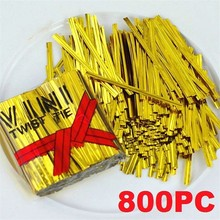 800 Pcs Metallic Twist Ties for Candy Lollipop Cake Pop Cello Bag Party Free Shipping(China)