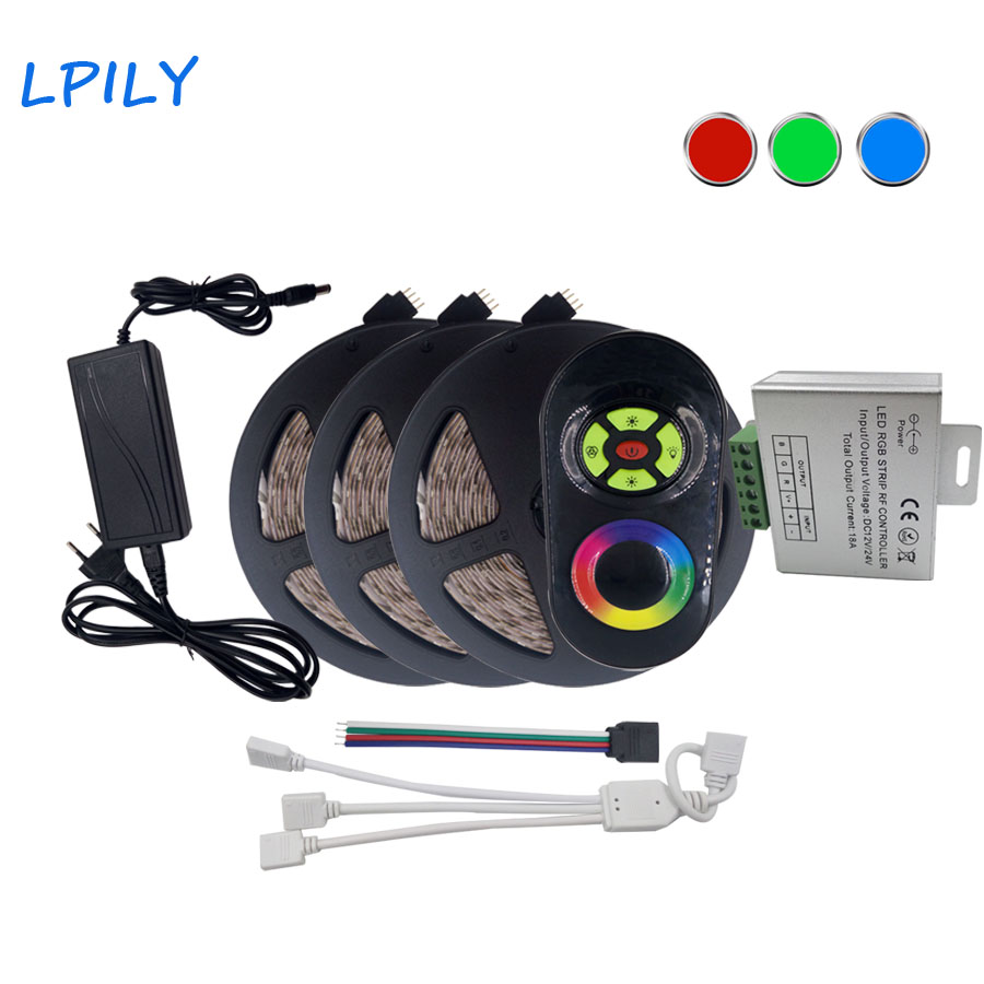 LPILY 2835 SMD 15M (3*5M) RGB LED Strip light waterproof DC 12V 5A power adaptor rgb led ribbon for home decoration rgb tape<br>