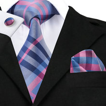 SN-467 Darkgray Pink Blue Plaid Tie Hanky Cufflinks Sets Men's 100% Silk Ties for men Formal Wedding Party Groom(China)