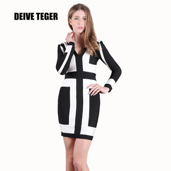 DEIVE TEGER Fashion New Women's sexy V-neck Bandage  white & black striped patchwork long sleeve Party rayon Dresses  HL1855