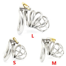 Buy Male Chastity Device,304 Stainless Steel Cock Cage,Penis Rings,Virginity Lock,Chastity Belt,Fetish BDSM Adult Sex Toys Man