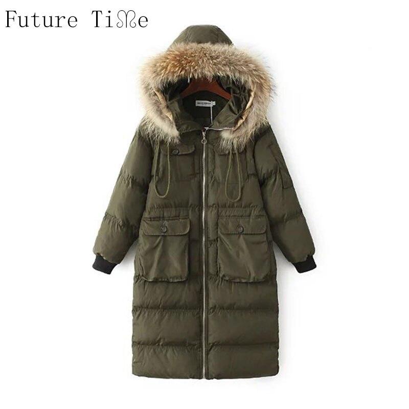 Future Time Fur Collar Ladies Coats 2017 Winter Coat Women Parka Long Thick Slim Womens Coats And Jackets Outerwear PU021Îäåæäà è àêñåññóàðû<br><br>