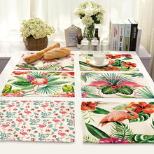 42X32CM Table Napkins Flamingo Printing Linen Dinner Table Napkins Tea Coffee Towel Restaurant Plates Decor Reusable Placemat